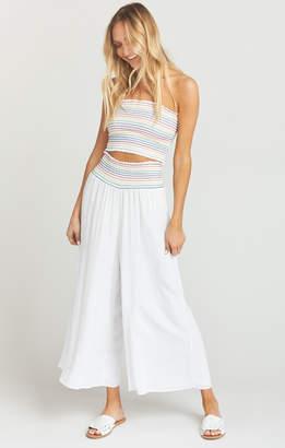 Show Me Your Mumu Explorer Smocked Pants ~ White Cruise with Rainbow