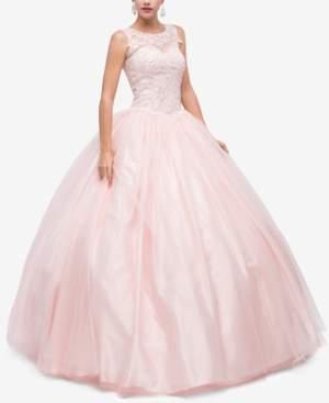 Dancing Queen Juniors' Sequined Applique Gown