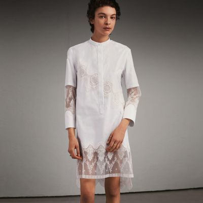 Burberry Burberry Cotton Shirt Dress with Lace Panels