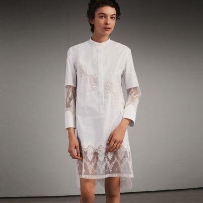 Burberry Burberry Lace Cutwork Cotton Shirt Dress