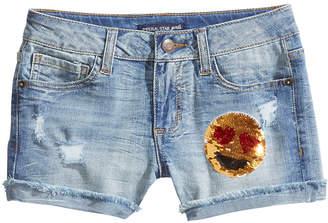 Imperial Star Reversible Sequin Emoji Shorts, Big Girls