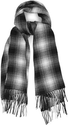 Reiss DRIVE WOOL BLEND CHECKED SCARF Black/white