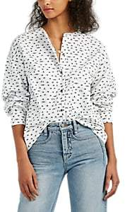 Colovos Women's Hand-Print Cotton Button-Front Shirt - White