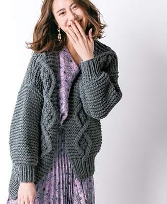 ベルーナ (ベルーナ) - ベルーナ 手編みざっくりカーディガン 杢グレー M~L レディース