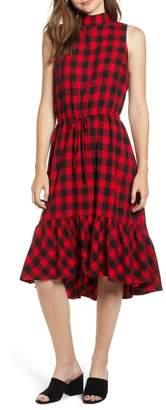 BP Ruffle Hem Plaid Midi Dress