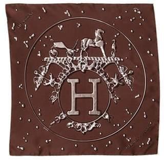 Hermà ̈s Printed Silk Pocket Square silver Hermà ̈s Printed Silk Pocket Square