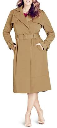 City Chic Plus Classic Belted Trench Coat