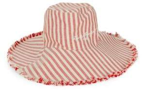 Karl Lagerfeld Paris Striped Chambray Floppy Hat