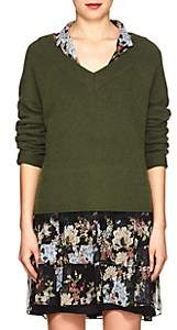 Robert Rodriguez Women's Lace-Accented V-Neck Sweater-Green