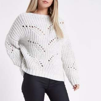 River Island Womens Petite cream pearl embellished knit sweater