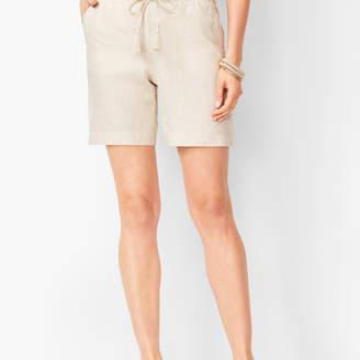 Talbots Drawstring Washed-Linen Shorts - Cross-Dyed