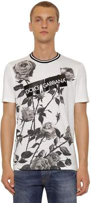 Dolce & Gabbana Flower Printed T-Shirt W/ Logo Tape