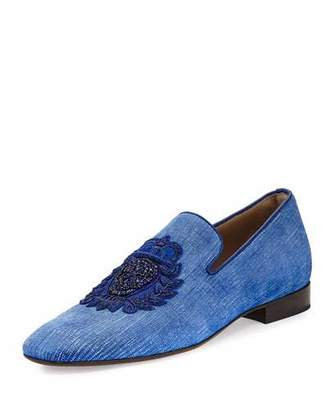 Donald J Pliner Men's Pazano Linen Formal Loafer with Embellished Crest, Blue $525 thestylecure.com