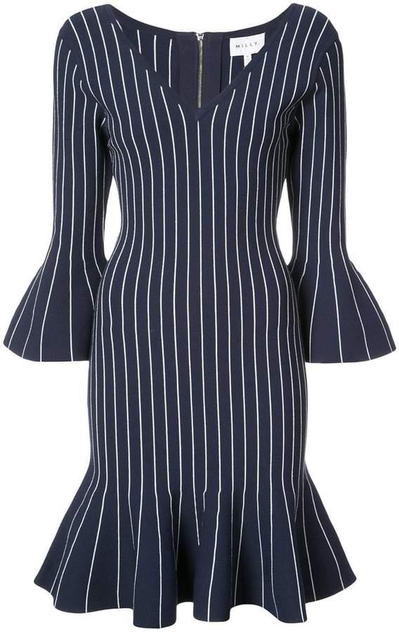 Milly striped peplum hem dress