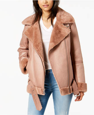 BCBGeneration Faux-Fur-Trim Moto Jacket