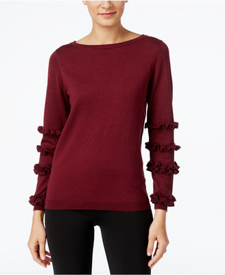 NY Collection Ruffled-Sleeve Sweater $50 thestylecure.com