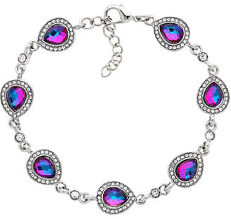 Monet Teardrop Glass Crystal Bracelet, Silver/Lilac