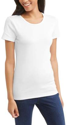 Time and Tru Women's Elevated Short Sleeve Crewneck T-Shirt