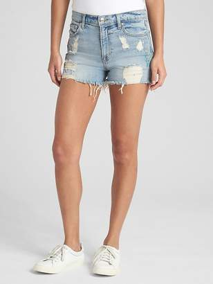 """Gap High Rise 3"""" Embroidered Denim Shorts with Destruction"""