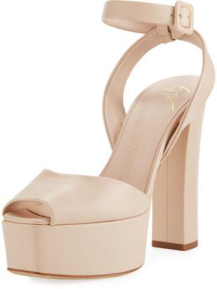 Giuseppe Zanotti Leather High Platform Sandal, Beige $559 thestylecure.com