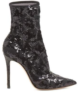 Gianvito Rossi Sequin Embellished 105 Ankle Boots - Womens - Black