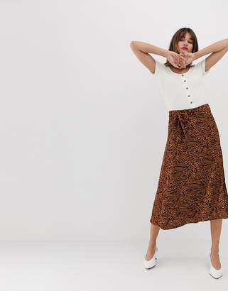 Vero Moda Abstract Animal Midi Skirt