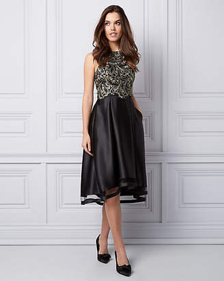 Le Château Embroidered Lace & Satin Cocktail Dress
