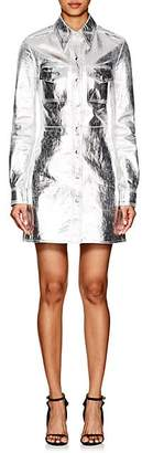 Calvin Klein Women's Metallic Leather A-Line Shirtdress - Silver