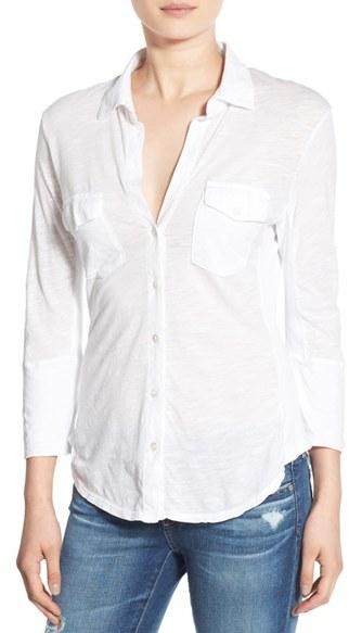 James Perse Women's Sheer Slub Panel Shirt