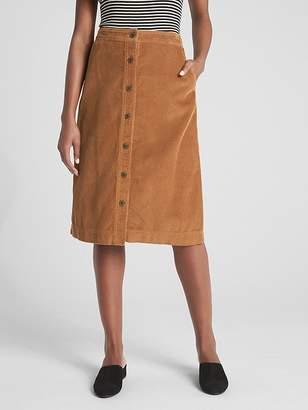 Gap Button-Front Cord Midi Skirt