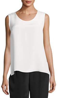 Caroline Rose Mid-Length Silk Crepe Tank Top, Plus Size