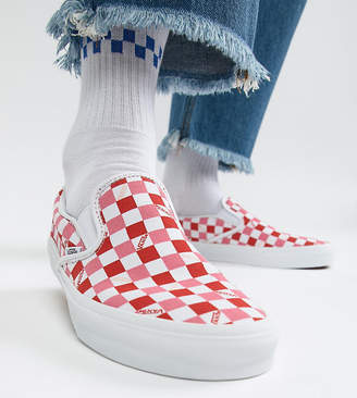 Vans Slip On checkerboard plimsolls in pink Exclusive at ASOS