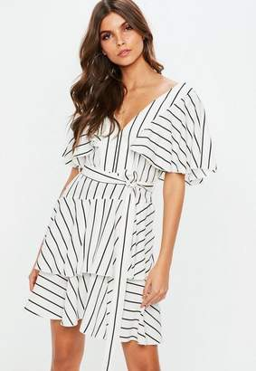 Missguided White Frill Off The Shoulder Striped Tea Dress