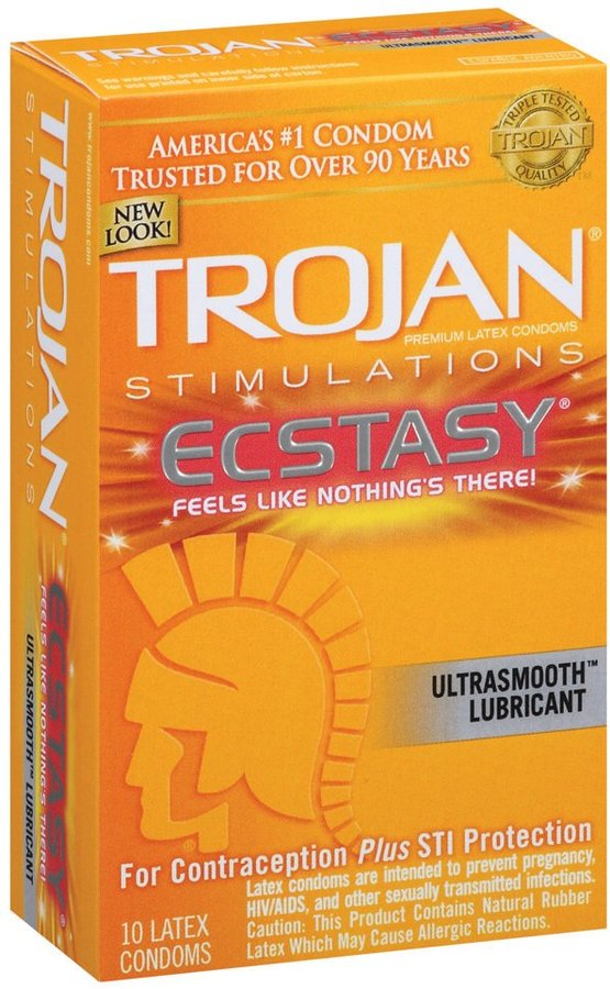 Trojan Stimulations Ultra Ribbed Ecstasy Ultrasmooth Lubricated Latex Condoms-10 ct