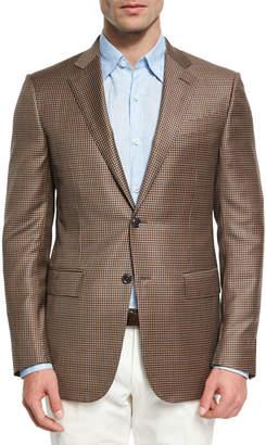 Ermenegildo Zegna Check Wool Two-Button Sport Coat, Tan/Blue