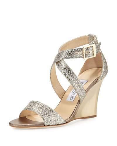 Jimmy ChooJimmy Choo Fearne Glitter Crisscross Wedge Sandal