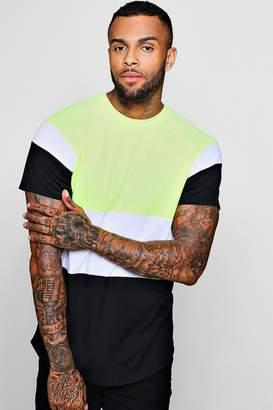 boohoo Longline Colour Block Raglan T-Shirt
