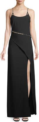 Zac Posen Marilyn Pearlescent-Inset Asymmetric Gown