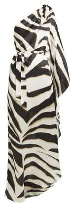 Melissa Odabash Lauren Asymmetric Zebra Striped Crepe Maxi Dress - Womens - Black White
