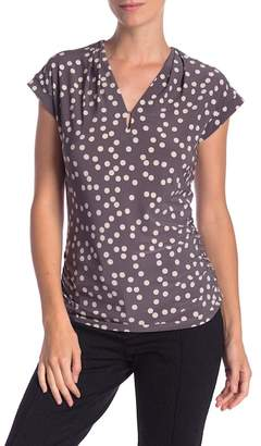 Anne Klein Pleated Polka Dot Blouse