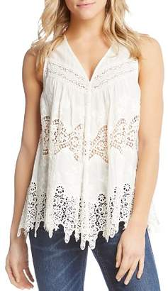 Karen Kane Sleeveless Embroidered Lace-Inset Top