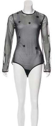 Amiri Leather-Accented Sheer Leotard w/ Tags Black Leather-Accented Sheer Leotard w/ Tags