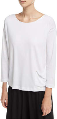 Joan Vass Mixed-Media Pullover w/ Pocket Detail, Plus Size
