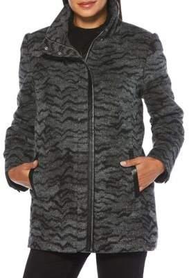 Rafaella Animal-Print Plush Zip-Front Jacket
