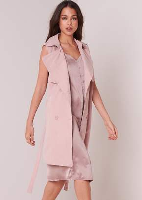Missy Empire Missyempire Yolanda Dusty Pink Sleeveless Trench Coat