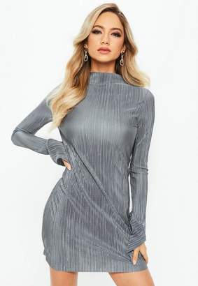 Missguided Silver High Neck Frill Long Sleeve Plisse Dress