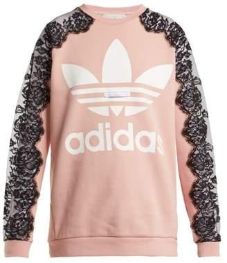 Stella McCartney Lace Insert Cotton Sweatshirt - Womens - Light Pink
