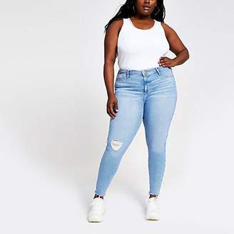 River Island Plus light blue Molly ripped jeggings