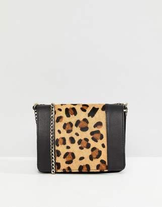 Asos Leather Boxy Leopard Panel Cross Body Bag