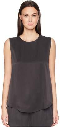 Eileen Fisher Silk Charmeuse Shirttail Shell Top Women's Sleeveless